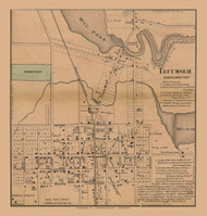 Tecumseh Village, Tecumseh, Michigan 1857 Old Town Map Custom Print - Lenawee Co.