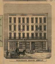 Stebbins Block, Adrian , Michigan 1857 Old Town Map Custom Print - Lenawee Co.