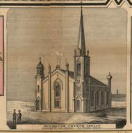 Plymouth Church, Adrian, Michigan 1857 Old Town Map Custom Print - Lenawee Co.