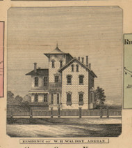 Waldby Residence, Adrian, Michigan 1857 Old Town Map Custom Print - Lenawee Co.