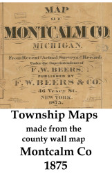 Map Cartouche, Montcalm County Michigan 1875 Old Town Map Custom Print -