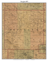 Douglass, Michigan 1875 Old Town Map Custom Print - Montcalm Co.