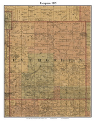 Evergreen, Michigan 1875 Old Town Map Custom Print - Montcalm Co.