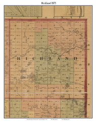 Richland, Michigan 1875 Old Town Map Custom Print - Montcalm Co.
