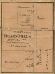 Deans Mills Village, Michigan 1875 Old Town Map Custom Print - Montcalm Co.