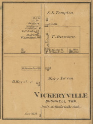 Vickeryville Village, Michigan 1875 Old Town Map Custom Print - Montcalm Co.