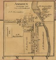 Amsden Village, Fairplain, Michigan 1875 Old Town Map Custom Print - Montcalm Co.