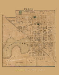 Carol Village, Maple Valley, Michigan 1875 Old Town Map Custom Print - Montcalm Co.