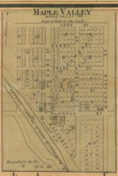 Maple Valley Village, Maple Valley, Michigan 1875 Old Town Map Custom Print - Montcalm Co.