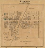 Pierson Village, Pierson, Michigan 1875 Old Town Map Custom Print - Montcalm Co.
