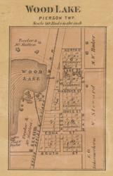 Wood Lake Village, Pierson, Michigan 1875 Old Town Map Custom Print - Montcalm Co.