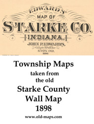 Map Cartouche, Starke Co. Indiana 1898 Old Town Map Custom Print - Starke Co.