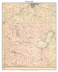 California, Indiana 1898 Old Town Map Custom Print - Starke Co.