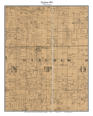 Bingham, Michigan 1864 Old Town Map Custom Print - Clinton Co.