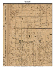 Dallas, Michigan 1864 Old Town Map Custom Print - Clinton Co.