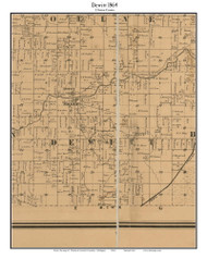 Dewitt, Michigan 1864 Old Town Map Custom Print - Clinton Co.