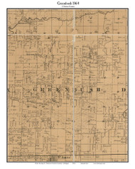 Greenbush, Michigan 1864 Old Town Map Custom Print - Clinton Co.