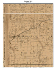 Lebanon, Michigan 1864 Old Town Map Custom Print - Clinton Co.