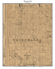 Westphalia, Michigan 1864 Old Town Map Custom Print - Clinton Co.
