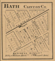 Bath Village, Bath, Michigan 1864 Old Town Map Custom Print - Clinton Co.