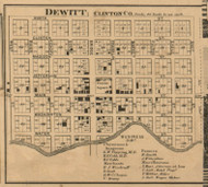 Dewitt Village, Dewitt, Michigan 1864 Old Town Map Custom Print - Clinton Co.