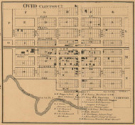 Ovid Center, Ovid , Michigan 1864 Old Town Map Custom Print - Clinton Co.