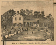 Voorhees Residence, Ovid, Michigan 1864 Old Town Map Custom Print - Clinton Co.
