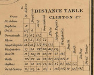 Table of Distances, Clinton County, Michigan 1864 Old Town Map Custom Print -