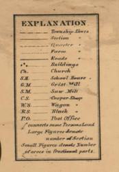 Map Key, Clinton County, Michigan 1864 Old Town Map Custom Print -