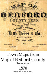 Map Cartouche, Bedford Co. Tennessee 1878 Old Town Map Custom Print