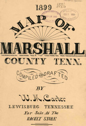 Map Cartouche, Marshall Co. Tennessee 1899 Old Town Map Custom Print