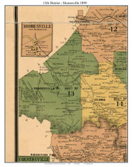 District 13 - Mooresville, 1899 Old Town Map Custom Print Marshall Co.