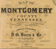 Map Cartouche, Montgomery Co. Tennessee 1877 Old Town Map Custom Print