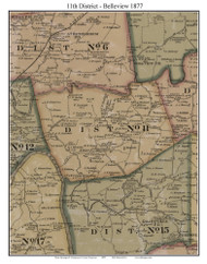 District No. 11 -Belleview, 1877 Old Town Map Custom Print Montgomery Co.