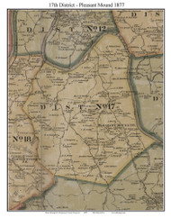 District No. 17 -Pleasant Mound, 1877 Old Town Map Custom Print Montgomery Co.