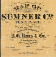 Map Cartouche, Sumner Co. Tennessee 1878 Old Town Map Custom Print