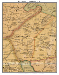 District 8 - Cottontown - Dorrisville, 1878 Old Town Map Custom Print Sumner Co.
