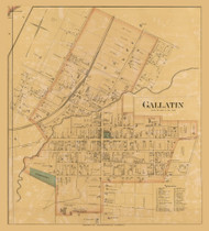 Gallatin City, District 3, 1878 Old Town Map Custom Print Sumner Co.