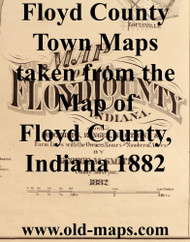Map Cartouche, Floyd Co. Indiana 1882 Old Town Map Custom Print
