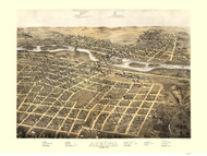 Aurora, Illinois 1867 Bird's Eye View - Davis