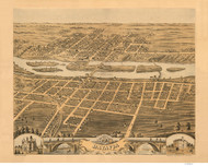 Batavia, Illinois 1869 Bird's Eye View - Flint