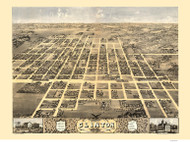 Clinton, Illinois 1869 Bird's Eye View