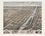 Geneva, Illinois 1869 Bird's Eye View