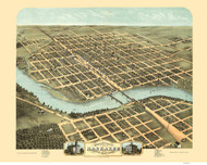 Kankakee, Illinois 1869 Bird's Eye View