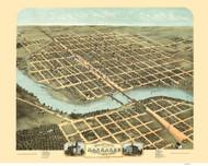 Kankakee, Illinois 1869 Bird's Eye View