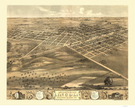 Lincoln, Illinois 1869 Bird's Eye View