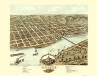 Moline, Illinois 1869 Bird's Eye View