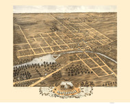 Naperville, Illinois 1869 Bird's Eye View