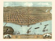 Rock Island, Illinois 1869 Bird's Eye View