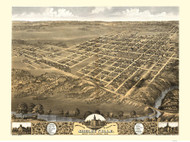 Shelbyville , Illinois 1869 Bird's Eye View